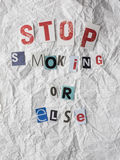 Ransom note with text stop smoking or else Stock Photo