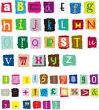 Ransom style muddled alphabet. Different styles of ransom style designed alphabet and numbers Stock Photos