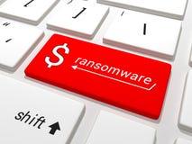 Ransomware在键盘的美元钥匙 免版税库存照片