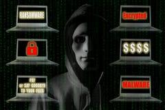 Ransomware概念:有显示标志的笔记本计算机的黑客 库存图片