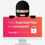 ransomware的头 病毒在个人计算机屏幕上的编码机消息 e 免版税库存图片