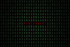 Ransomware词有技术与二进制编码的数字式黑暗或黑背景在浅绿色的颜色1001 库存图片