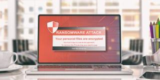 Ransomware-Alarm auf einem Laptopschirm Abbildung 3D Lizenzfreie Stockbilder