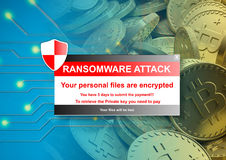 Ransomware alert on a bitcoins background. 3d illustration. Ransomware attack alert on a bitcoins background. 3d illustration Stock Photo
