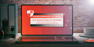 Ransomware alert on a laptop screen. 3d illustration. Ransomware alert on a laptop screen - brickwall background. 3d illustration Stock Image