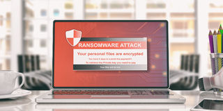 Ransomware alert on a laptop screen. 3d illustration. Ransomware alert on a laptop screen - office background. 3d illustration Royalty Free Stock Images