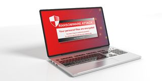 Ransomware alert on a laptop screen. 3d illustration. Ransomware alert on a laptop screen - white background. 3d illustration Royalty Free Stock Photography