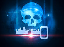 Ransomware alert. Skull on blue technology background Stock Photo