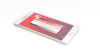 Ransomware alert on a smartphone screen. 3d illustration. Ransomware alert on a mobile phone screen - white background. 3d illustration Stock Images