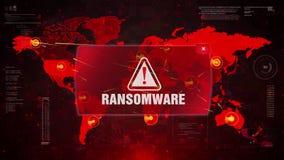Ransomware alert warning attack on screen world map.