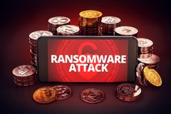 Ransomware attack warning displayed on smartphone screen. Royalty Free Stock Images