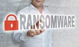 Ransomware avec le concept de matrice et d'homme d'affaires photo libre de droits