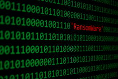 The RansomWare and Binary code Concept Security and Malware atta Stock Images