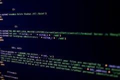 Ransomware broncode met bericht die geld in Bitcoin vragen royalty-vrije stock fotografie