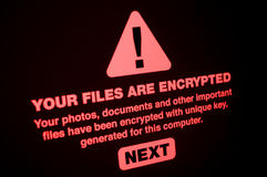 Ransomware. Close up of Your Files Are Encrypted on the Screen Stock Images