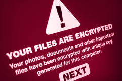 Ransomware. Close up of Your Files Are Encrypted on the Screen Royalty Free Stock Photos