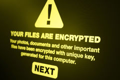 Ransomware. Close up of Your Files Are Encrypted on the Screen - Shallow Depth of Field stock photo