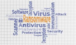 Ransomware cloud on notepad concept stock image