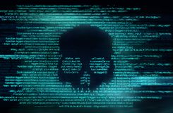 Ransomware And Code Hacking Background. Malicious computer programming code in the shape of a skull. Online scam, hacking and digital crime background 3D stock illustration