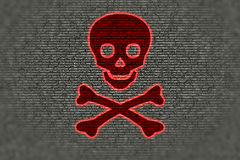 Ransomware concept red skull over grey computercode Stock Photography