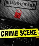 Ransomware crimescene tape. Ransomware and lock on a laptop screen with crime scene tape Stock Photos