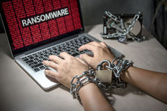 Ransomware cyber attack on computer laptop Royalty Free Stock Photography