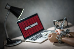 Ransomware cyber attack on laptop computer Stock Photos