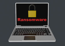Ransomware 3D met hangsloten - laptop Royalty-vrije Stock Afbeelding