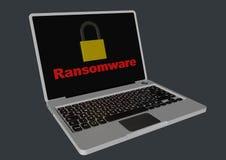 Ransomware 3D met hangsloten - laptop Royalty-vrije Stock Foto