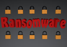 Ransomware 3D with padlocks. Ransomware text With locked padlocks ,  3d Rendered Computer Generated Image Stock Photo