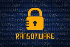 Ransomware encription. Data protection from hacking. Cyber security. Data encryption. Protect information in network and Internet. Royalty Free Stock Image