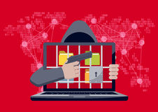 Ransomware with hacker pointing gun. Anonymous hacker with hood pointing gun at locked laptop, with folders behind jail bars, as ransomware hostage on red binary Stock Photography