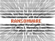 Ransomware hacking virus software malware. Radial blur with definition clear Stock Image