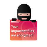 Ransomware holding a red folder with user documents. Royalty Free Stock Photos