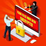 Ransomware Malware Cyber Crime Vector Infographic Illustration Royalty Free Stock Photo