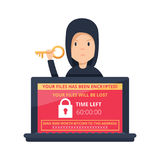 Ransomware malware wannacry risk symbol hacker cyber attack concept computer virus NotPetya infection infographic. Vector hacker risk illustration Royalty Free Stock Images