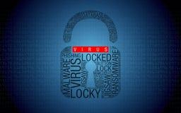 Ransomware nessun computer inciso virus con il lucchetto Fotografie Stock