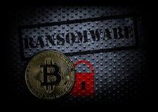 Ransomware och bitcoin arkivbild