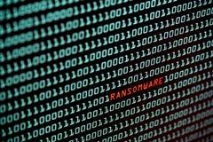Ransomware oder Text- und binär Code-Konzept Wannacry vom Tischrechnerschirm, selektiver Fokus, Sicherheitstechnikkonzept lizenzfreies stockbild