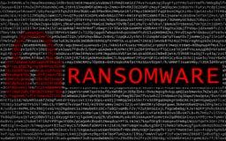Ransomware tekst z czerwonym kędziorkiem nad utajnionym tekstem zdjęcia stock