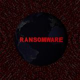 Ransomware text with earth by night and red hex code illustration Royalty Free Stock Photo