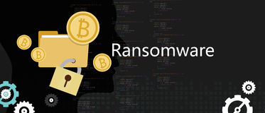 Ransomware wannacry hacker malware concept of lock folder and ask money Stock Image