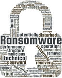 Ransomware Word Cloud Text Illustration in shape of Padlock. Royalty Free Stock Photos