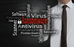 Ransomware wordcloud is written by businessman on screen.  stock images