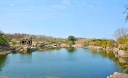 Ranthambhore fort ruins. Ruins of ranthambhore fort near pond Royalty Free Stock Photo