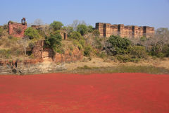 Ranthambore Fort and red lake, India Stock Images