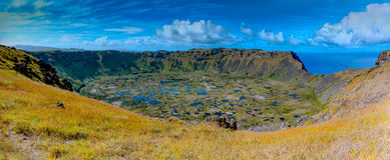 Ranu Kau Crater en la isla de pascua Sitio del patrimonio mundial del parque nacional de Rapa Nui Imágenes de archivo libres de regalías