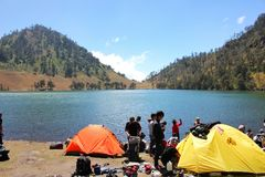 Ranu Kumbolo Lake Stock Image