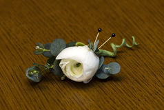 Ranunculus and Eucalyptus boutonniere Royalty Free Stock Photo