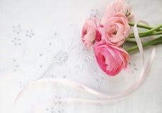 Pink spring flowers on eyelet with ribbon. Ranunculus flowers on decorative eyelet fabric royalty free stock photos